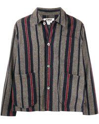 YMC ストライプ シャツジャケット - グレー