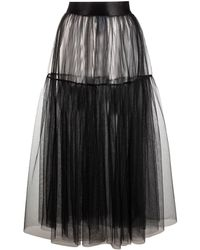 Marchesa notte Sheer Tulle Skirt - Black