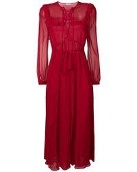 Miu Miu Vestido largo con volantes - Rojo