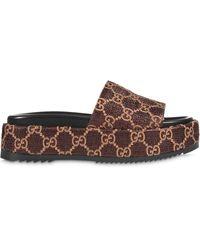 Gucci GG Lamé Slide Sandals - Brown
