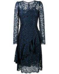 Dolce & Gabbana Kanten Ruches Half Jurkje - Blauw