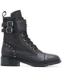 Karl Lagerfeld Danton Stud-embellished Ankle Boots - Black