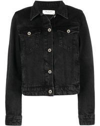 Rag & Bone Cropped Denim Jacket - Black