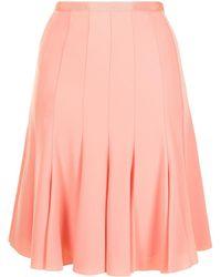 Paule Ka Satin-crepe Pleated Skirt - Pink