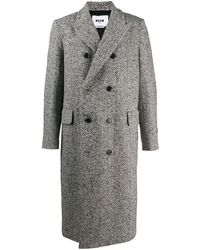 MSGM Двубортное Пальто Длины Миди - Черный