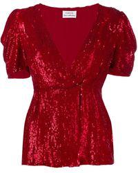P.A.R.O.S.H. Blusa con lentejuelas y cuello en V - Rojo