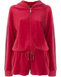 Juicy Couture Swarovski Embellished Velour Romper - Red