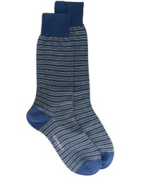Canali Striped Socks - Blue
