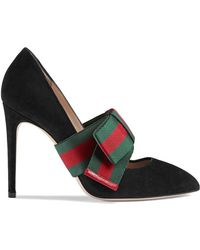 38364fb1564 Gucci - Suede Pumps With Removable Web Bow - Lyst