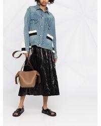 Sacai Джинсовая Куртка С Вязаными Вставками - Синий