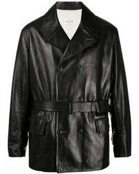 Maison Margiela Двубортная Куртка С Поясом - Черный