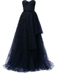 Carolina Herrera Bead-embellished Strapless Gown - Blue