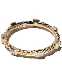 David Yurman - 18kt Yellow Gold Cable Collectibles Cable Diamond Stack Ring - Lyst
