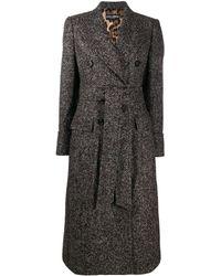 Dolce & Gabbana Двубортное Пальто Средней Длины - Коричневый