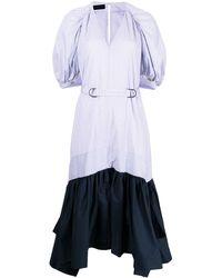 Eudon Choi Pinstripe-print Handkerchief Hem Colour-block Dress - Multicolour