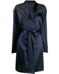 I.D Sarrieri Embroidered Short Robe - Blue