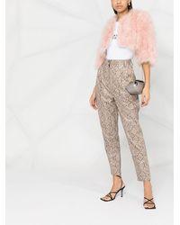 Yves Salomon フェザートリム クロップドジャケット - ピンク