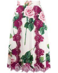 Dolce & Gabbana Юбка С Принтом Tropical Rose - Белый