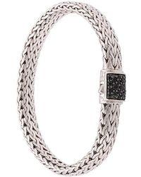 John Hardy Pulsera Classic Chain plana en plata de ley con cierre con zafiros negros