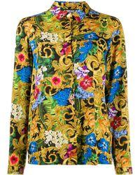 Versace Jeans Baroque Floral-print Shirt - Black
