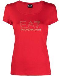 EA7 T-shirt à ornements en cristal - Rouge