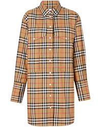 Burberry - チェック オーバーサイズシャツ - Lyst
