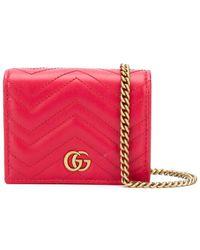 Gucci Кошелек GG Marmont На Цепочке - Красный