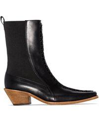 Haider Ackermann Black Ela 50 Leather Ankle Boots