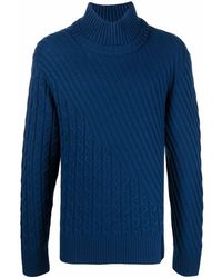 Karl Lagerfeld Cable-knit Wool-blend Jumper - Blue