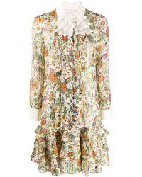 Tory Burch Printed Bow-neck Long-sleeve Ruffle-hem Chiffon Dress - Multicolor