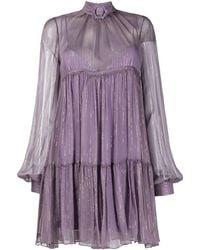 Philipp Plein Robe courte à taille empire - Violet