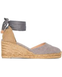 Castaner Womens Gray Carina 80 Wedge Espadrilles