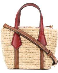 Tory Burch Perry Straw Mini Bag - Brown
