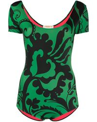 LaDoubleJ Floral Print Surf Swimsuit - Green
