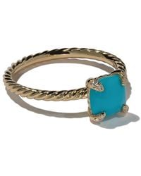 David Yurman 18kt yellow gold Châtelaine turquoise and diamond ring - Multicolore