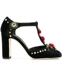 Dolce & Gabbana Embroidered T-straps Court Shoes - Black