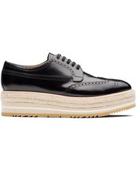 Prada Raffia Platform Varnished Brogues - Black
