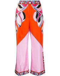 Emilio Pucci Pantalon ample crop à imprimé abstrait - Orange