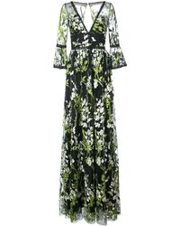 Marchesa notte Embroidered Trumpet Sleeve Gown - Black