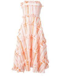 Bambah Декорированное Платье Миди - Оранжевый
