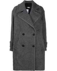 Karl Lagerfeld Двубортное Пальто - Серый