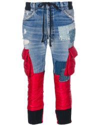 Moncler - Padded Panel Cropped Jeans - Lyst