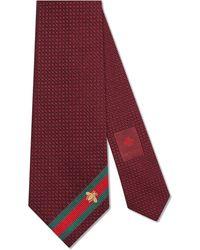 Gucci - Cravate en soie avec détail ruban web abeille - Lyst
