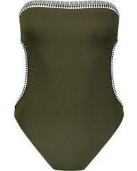 lemlem Geometric Trim Swim Suit - Green
