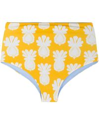 LaDoubleJ Pineapple Print Surf Briefs - Yellow
