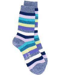 N.Peal Cashmere ストライプ靴下 - ブルー
