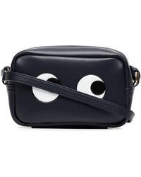 Anya Hindmarch - Black And White Mini Eyes Leather Crossbody Bag - Lyst