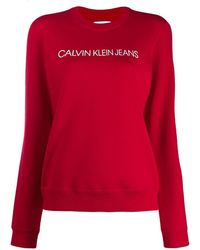 Calvin Klein Sweatshirt mit Logo - Rot