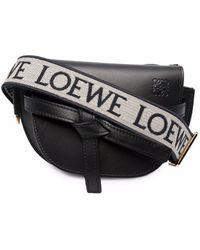 Loewe ロゴストラップ レザーサッチェルバッグ - ブラック