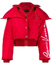 Versace Gv Signature Puffer Jacket - Red